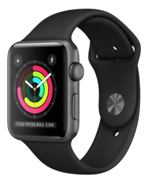 Apple Watch Series 3 42mm Space Gray Aluminum Case with Black Sand Sport Band (Спортивный ремешок черного цвета) MTF32RU/A