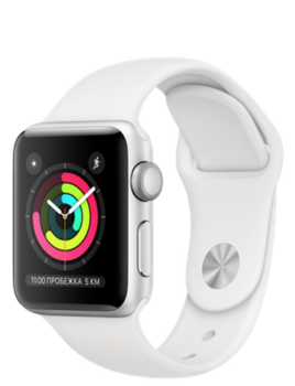 Apple Watch Series 3 38mm Silver Aluminum Case with White Sport Band (Спортивный ремешок белого цвета) MTEY2RU/A