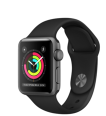 Apple Watch Series 3 38mm Space Gray Aluminum Case with Black Sand Sport Band (Спортивный ремешок черного цвета) MTF02RU/A
