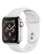Apple Watch Series 4 GPS + Cellular 40mm Stainless Steel Case with White Sport Band (Белый спортивный ремешок)