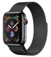 Apple Watch Series 4 GPS + Cellular 44mm Space Black Stainless Steel Case with Space Black Milanese Loop (Миланский сетчатый браслет цвета «серый космос»)