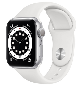 Apple Watch Series 6 GPS 44mm Aluminum Case with Sport Band White M00D3