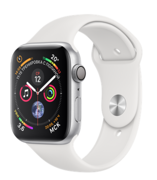 Apple Watch Series 4 GPS 44mm Silver Aluminum Case with White Sport Band (Спортивный ремешок белого цвета) MU6A2
