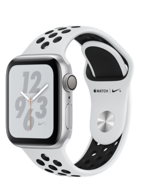 Apple Watch Nike+ Series 4 GPS 40mm Silver Aluminum Case with Pure Platinum / Black Nike Sport Band (Спортивный ремешок Nike «чистая платина / чёрный») MU6H2