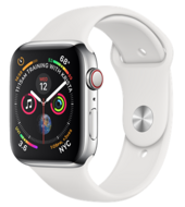 Apple Watch Series 4 GPS + Cellular 44mm Stainless Steel Case with White Sport Band (Белый спортивный ремешок)