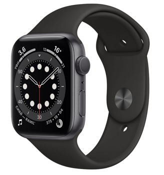 Apple Watch Series 6 GPS 44mm Aluminum Case with Sport Band Black M00H3