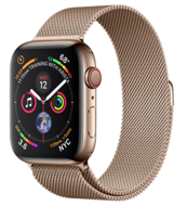 Apple Watch Series 4 GPS + Cellular 44mm Gold Stainless Steel Case with Gold Milanese Loop (Миланский сетчатый браслет золотого цвета)