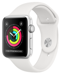 Apple Watch Series 3 42mm Silver Aluminum Case with White Sport Band (Спортивный ремешок белого цвета) MTF22RU/A