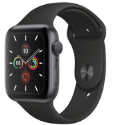 Apple Watch Series 5 GPS 44mm Space Gray Aluminum Case with Black Sport Band (Спортивный ремешок черного цвета) MWVF2RU/A
