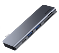 USB-концентратор Baseus Harmonica Type-C 5в1 2xUSB/SD/TF/PD - Gray (CAHUB-K0G)